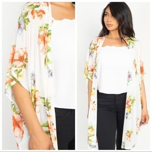 Tops - ABIGAIL SHEER FLORAL WOVEN KIMONO COVER UP S M L